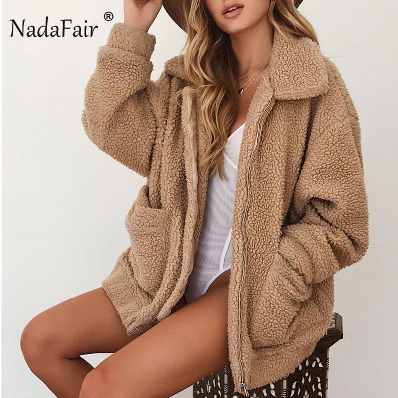 5c93d69fc3a 2019 Nadafair Women Faux Fur Teddy Coat 2018 Lambswool Pocket Autumn Fluffy Fur  Coat Plus Size Winter Turn Down Plush Jakcet Female From Xianfeiyu