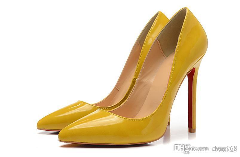 dcc649864 Cream Yellow Set Foot Single Red Bottom High Heels Women Shoes 12cm High  Heel Ladies Female Shoes Low Footwear Pumps Wedding Shoes Cute Shoes Green  Shoes ...