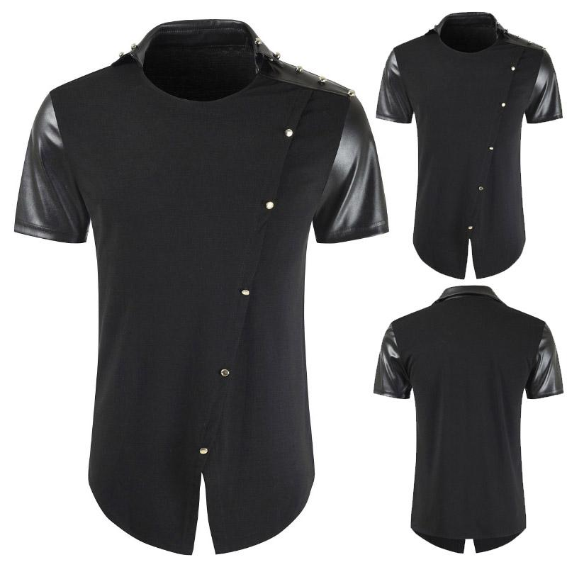c8af96cde 2019 Summer Men T Shirts Black Tees Leather Patchwork Turn Down Collar Short  Sleeve Funny T Shirts Oversize Men Tops Streetwear T Shirts Print Tees  Online ...