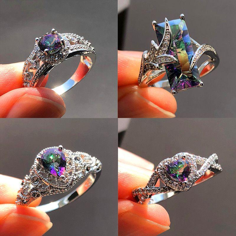 674fa9bea0fa Compre Misterio Gran Cristal Arco Iris Anillo De Piedra Boho Mujeres ...