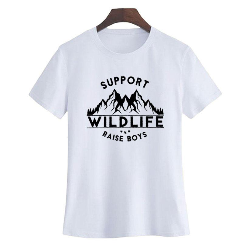 a8d192076501 Women S Tee Support Wild Life Raise Boys Slogan T Shirt Boy S Mom T Shirt  Hipster Harajuku Mom Life Saying Graphic Tee Shirt Summer Tops T Shirt With  A T ...