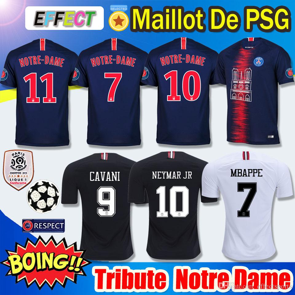 ddab12dc99cd 2019 2019 PSG Notre Dame Soccer Jersey Third Maillot MBAPPE 2018 Ligue 1  Champions As Club 18 19 Paris Tribute Maillot De Foot Football Shirt From  ...