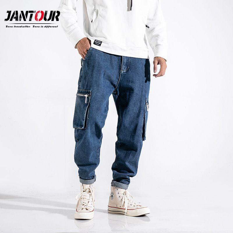 610db8930d Compre Jantour Marca De Ropa Para Hombre De Moda 2019 Nueva Calidad Haren Jeans  Hombres Azul Sueltos Pantalones Para Hombre Azul Mono Pantalones Masculinos  ...