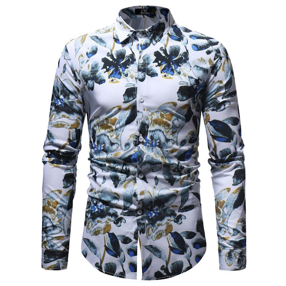 ce4324fd82 Compre Nueva Llegada 2019 Moda Para Hombre Camisa De Vestir Hawaiana De  Manga Larga Ropa Casual De Verano Camisas Florales Para Hombres Tamaño  Asiático M ...