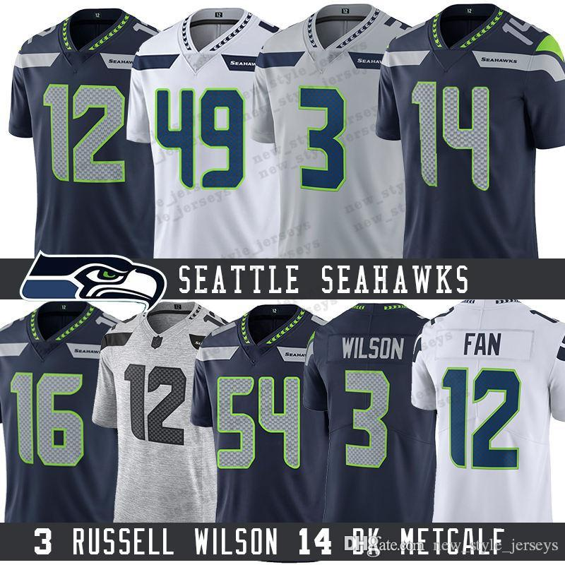 quality design 1d580 c08a6 3 Russell Wilson Seattle Seahawks Jersey 14 DK Metcalf Bobby Wagner 49  Shaquem Griffin 16 Tyler Lockett 31 Kam Chancellor Rashaad Penny Fan