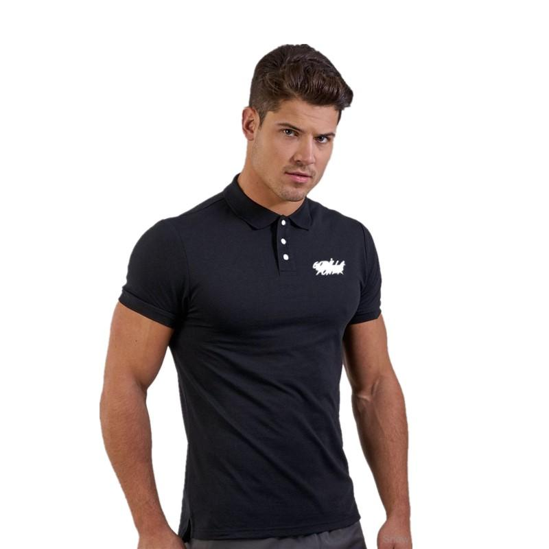 34ac96dc0666 Gym Clothing Fitness Polo Shirt Summer Men Black Muscle Short Sleeve ...