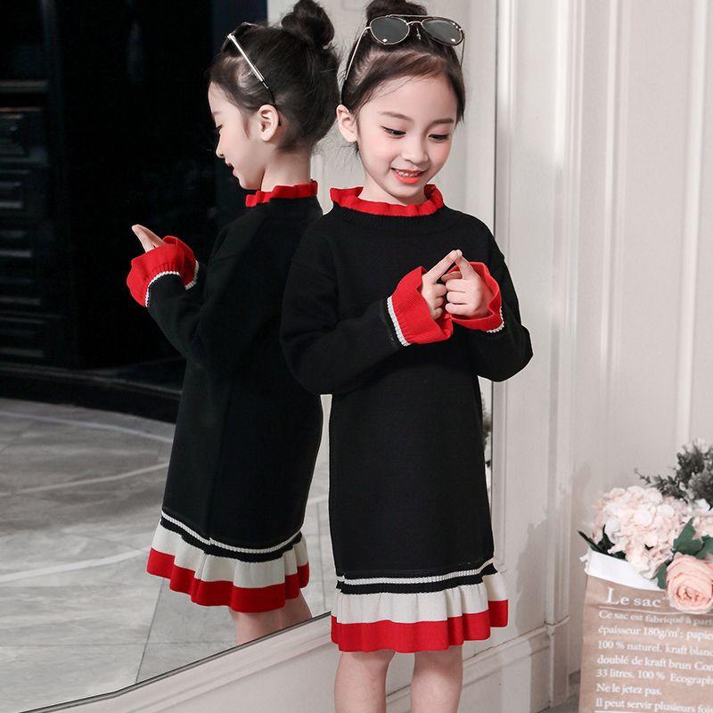 015a78f95940 Girls Long Velvet Knitted Sweater Fall Winter New Children Fashion ...