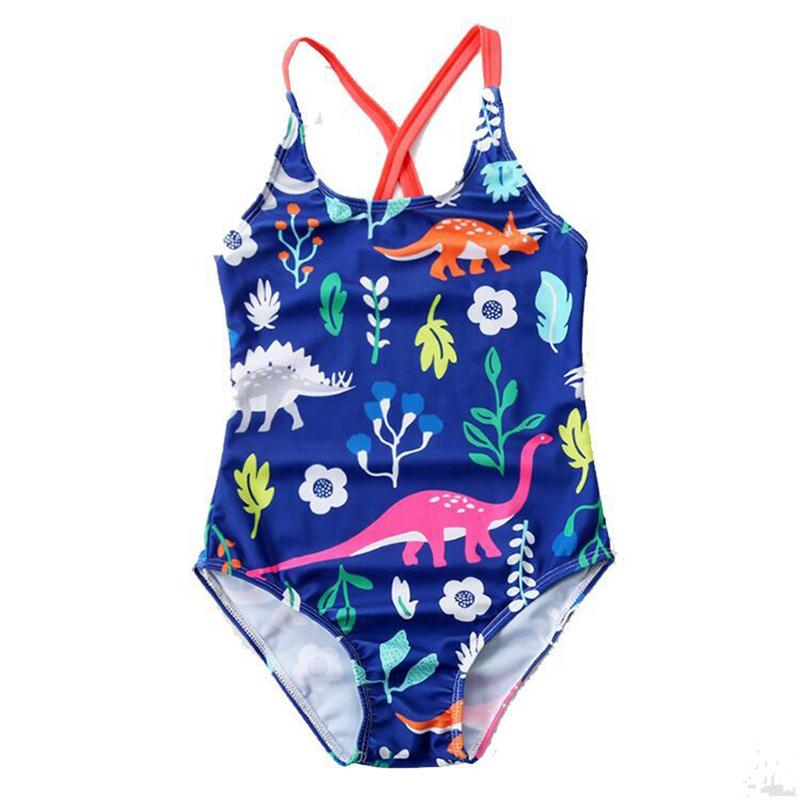 98ecbb567a Fashion Summer Kids Girls Swimwear Cute Print Striped Cartoon Animal ...
