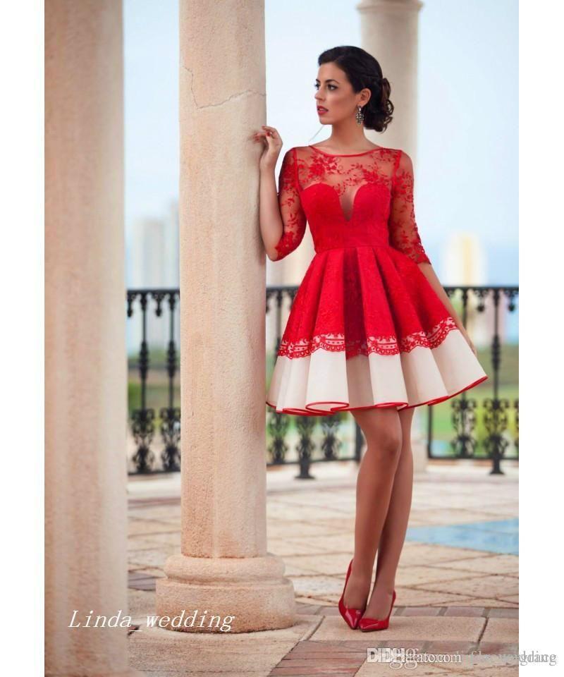 Compre Cóctel Encaje Español Vestido Rojo De Estilo 2019 VSpUMz