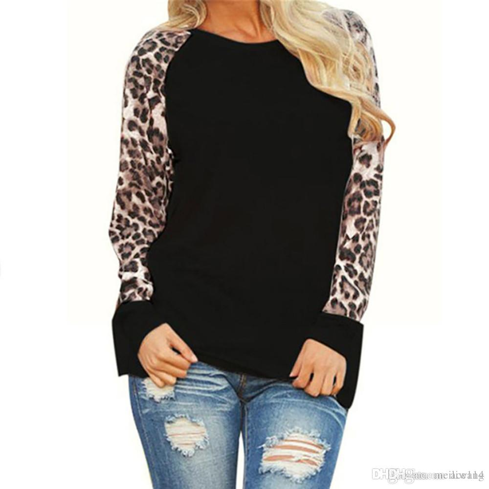 76eca9407359 Compre Leopardo Mujer Top Blusas Camisa De Remiendo De Manga Larga Túnica  Camiseta Femme Blusas Mujer Más Tamaño S 5XL Envío De La Gota # 555 A  $23.12 Del ...