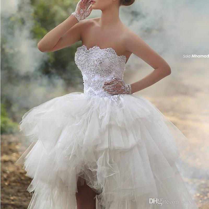 High Low Ball Gown Wedding Dresses Strapless Beaded Lace Applique Puffy Tulle Short Front Long Back Bridal Gowns Summer Beach Wedding Dress