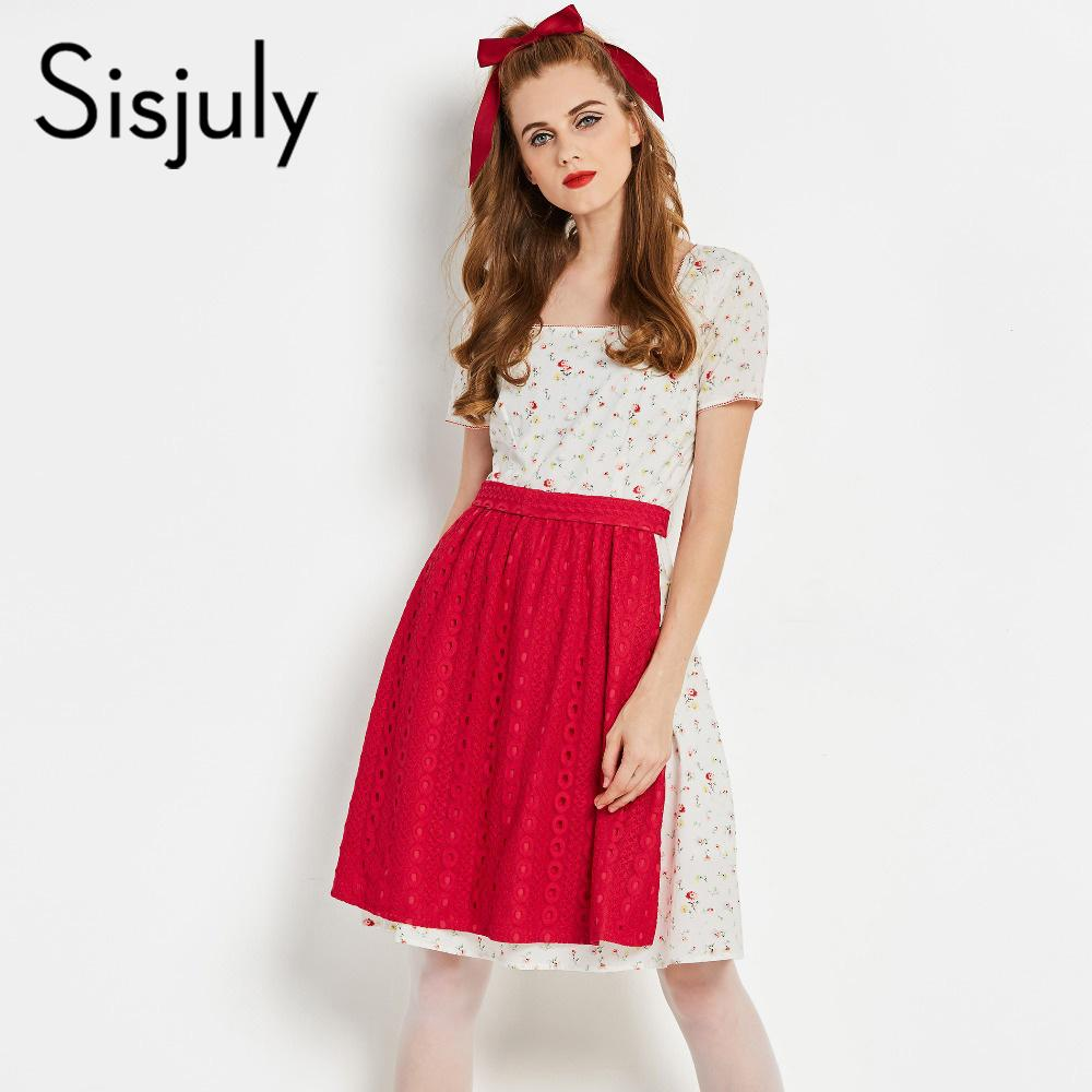 Sisjuly Women Dress 60s A Line Short Sleeve White Casual Print Floral  Hollow Lace Up Female Fashion Vintage Party Dress