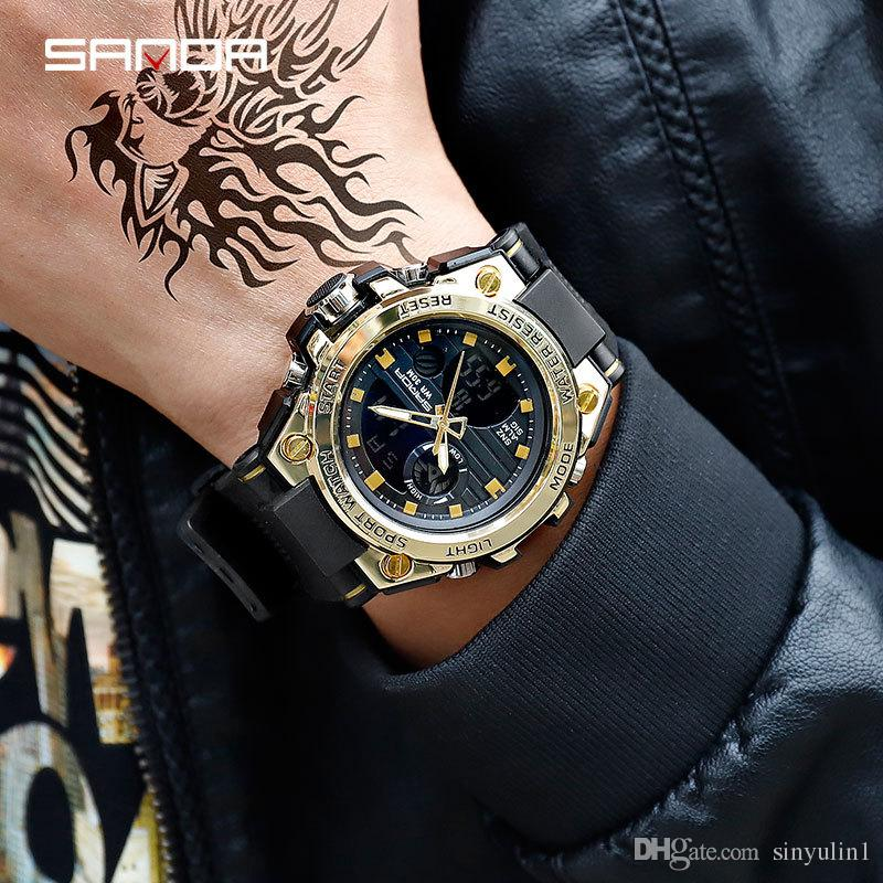1c431bf40abe Compre 2019 Nueva SANDA Marca Reloj Deportivo Relojes De Los Hombres Mejor  Marca De Ocio Militar Reloj De Cuarzo Hombres Impermeable S Reloj De Choque  ...
