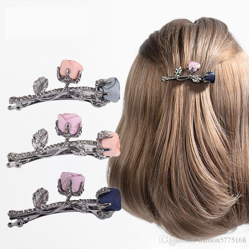 Retro Fabric Rose Flower Hairpins With Rhinestone Leaves Barrettes For Elegant Women Girls Hair Clip Hair Accessories