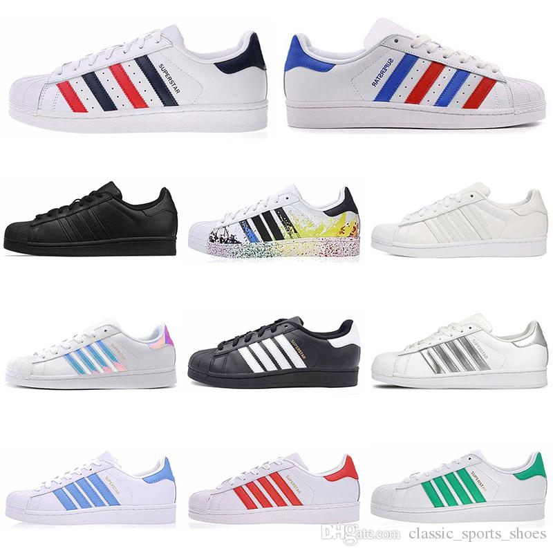Adidas Venta al por mayor Superstar Casual Shoes hombres mujeres 80s pride platform black white golden superstars flat super star designer mens trainers sneakers