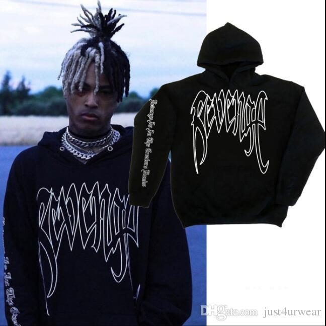 Fashion Brand Mens Womens Designer Hoodies Hip Hop Palm Print REVENGE XXXTentacion Sweatshirts Hooded Streetwear Tops Mens Black Hoodies