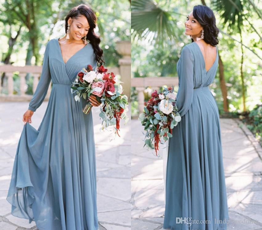 a4d6fc692aad1 African Black Girls Bridesmaid Dress 2019 Chiffon Summer Country Garden  Formal Wedding Party Guest Maid of Honor Gown Plus Size Custom Made