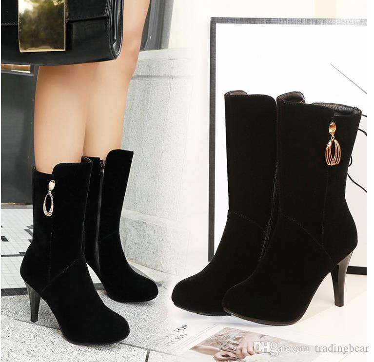 Big small size 32 33 34 to 40 41 42 43 keep warm mid calf booties zip side black synthetic suede winter boots designer