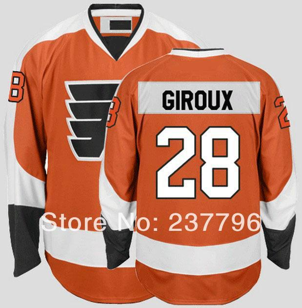 watch b72fc ff2b2 Cheap Sale Men's #28 Claude Giroux Jersey Philadelphia Flyers Ice Hockey  Jerseys Orange Home Team Color 100% Stitched Polyester