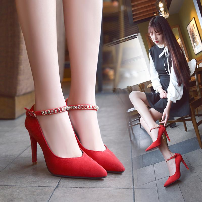 bdae831252a Dress 2019 Fashion Spring Women Shoes Elegant Red Bottom High Heels Pointed  Toe Crystal Buckle Strap Wedding Shoea Flock Pumps Size 40 Loafers For Men  Red ...