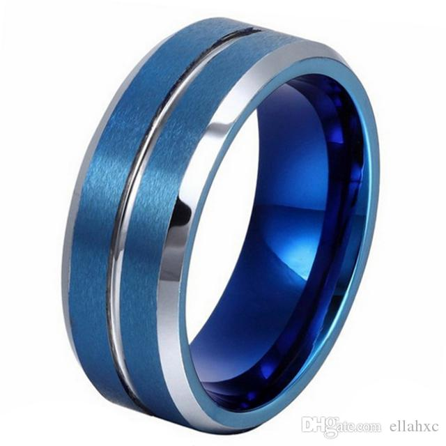 c41532cce665 8mm Popular Silver Groove Blue Tungsten Carbide Rings For Men Wedding  Jewellery Rose Gold Rings Wedding Bands For Men From Ellahxc