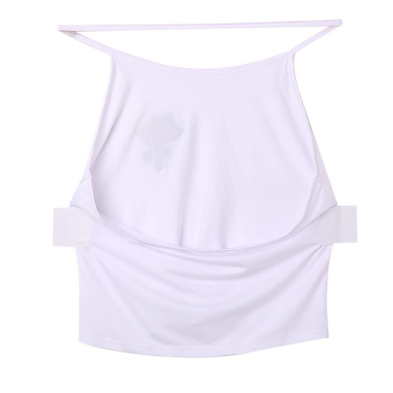 Moda Feminina Mulheres Verão roupas sem mangas topos de colete halter sem encosto ocasional floral bordados finos topos curto tanque