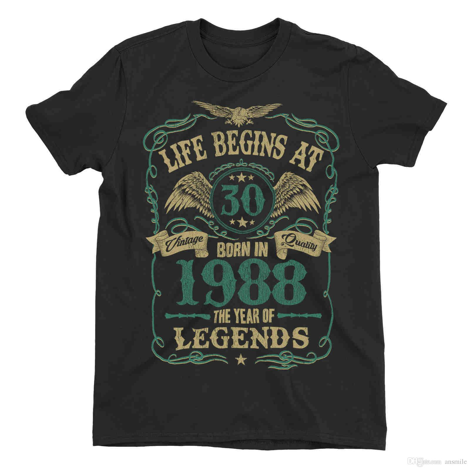 Life Begins At 30 Mens T-Shirt BORN In 1988 Year of Legends S-4XL N534