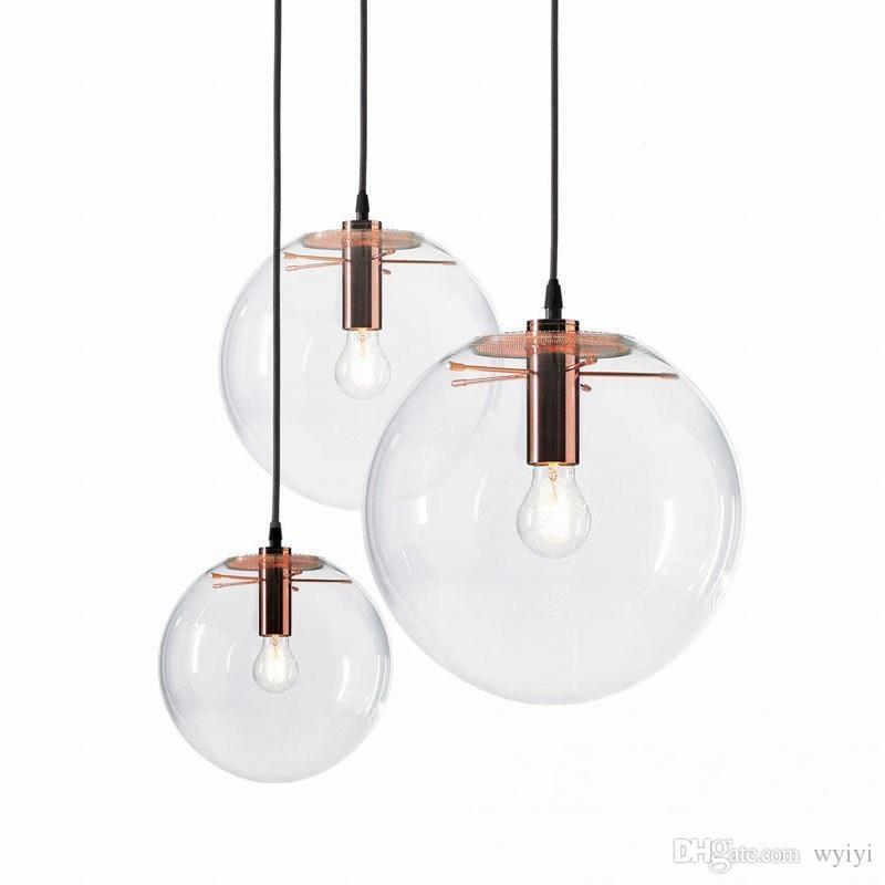 Nordic Anhänger Lichter Glas Ball Anhänger Lampen Runde Globus Hängen Lampe Bar Restaurant Küche Leuchten leuchte beleuchtung