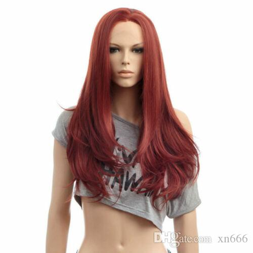 New Cosplay Long Straight Wig Chic Red Brown Front Lace Wig Hair