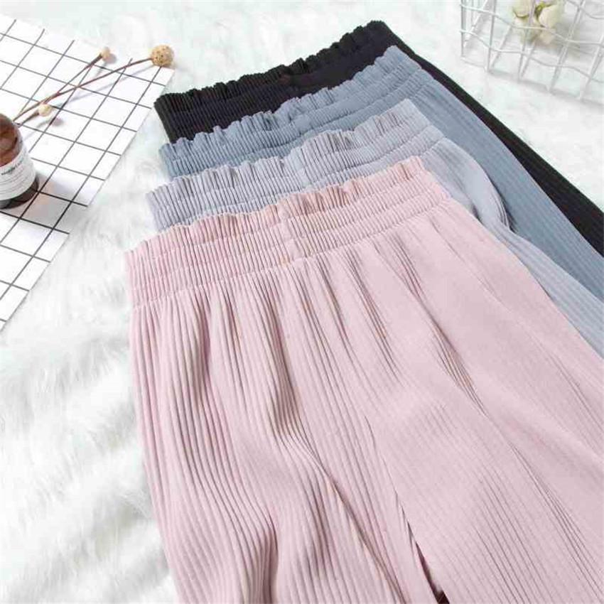 2019 New Chic Summer Big Size Women Chiffon Wide Leg Pant Casual High Waist Pleated Pant Spring Elegant Lady Pants Legging Wz342 Y19070101