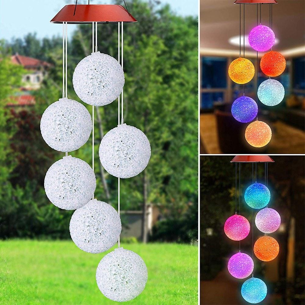 Wall Hanging Solar Wind Chime Light Spiral Ball LED Lamp Wind Spinner Chimes Bell Lights For Christmas Outdoor Home Garden Decor