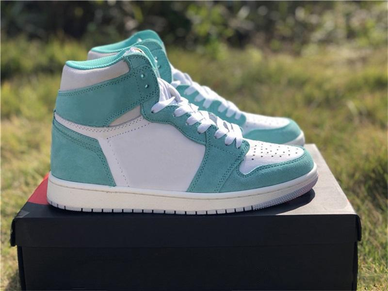 2019 Release Air High OG 1 Retro Turbo Green Mens Basketball Shoes White Light Smoke Grey Sail 555088-311 Athletic Sneakers Size 40-47