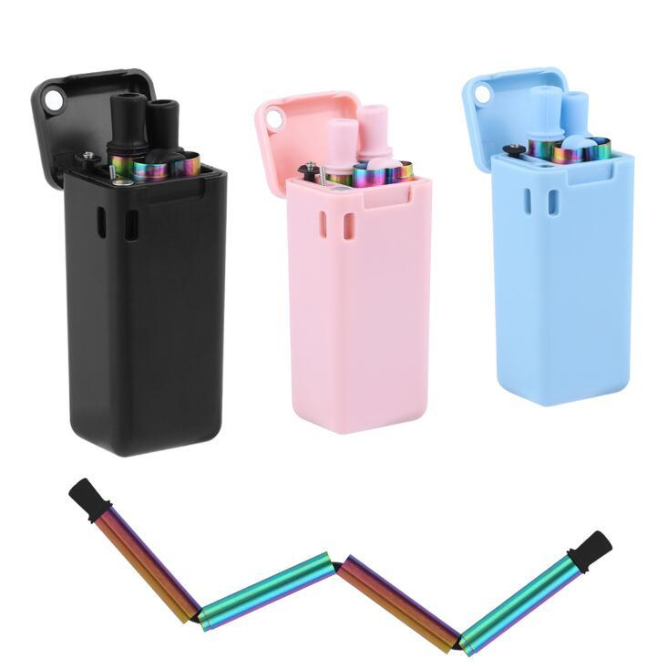 Collapsible Reusable Straws 5 Colors Stainless Steel Rainbow Foldable Metal  Drinking Straws With Cleaning Brushes OOA7023