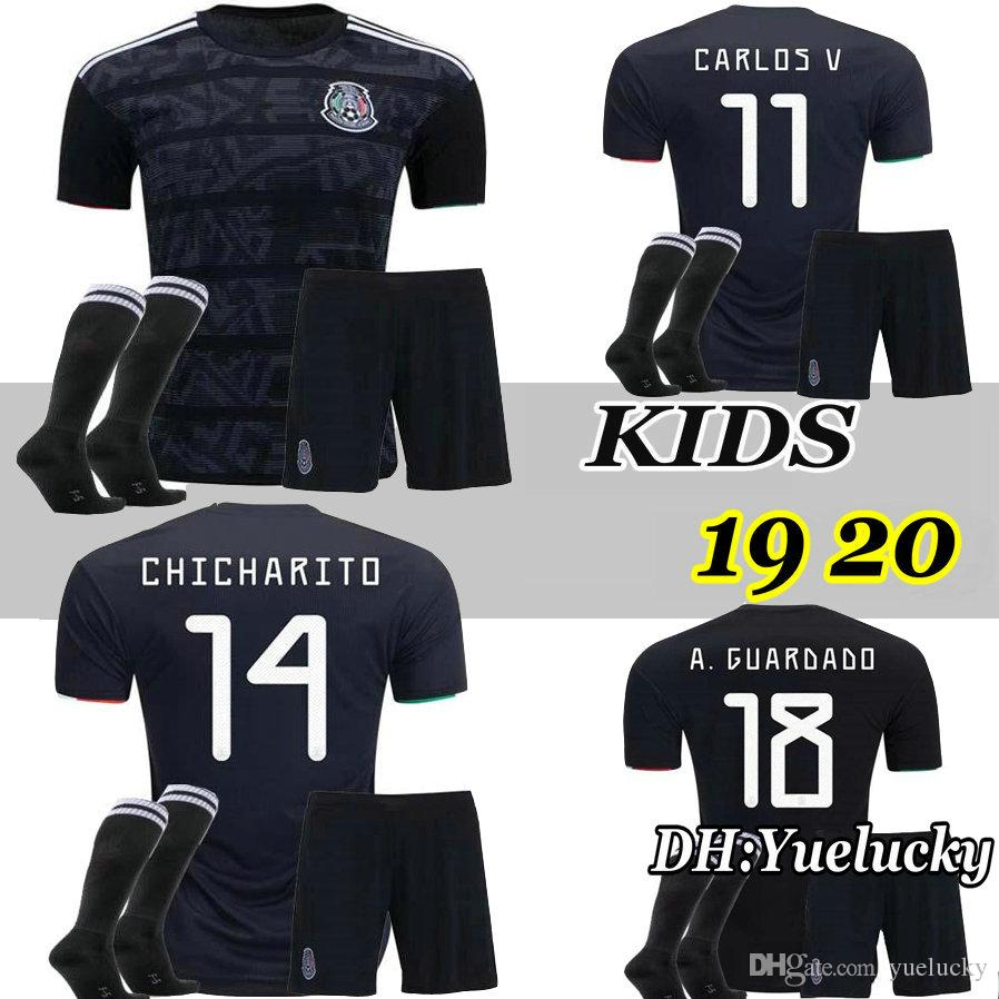 b8c8995ac 2019 2019 Gold Cup Mexico Kids Kit Soccer Jersey Black Mexico Home Green  Soccer Jerseys H. LOZANO CHICHARITO 19 20 Child Shirts Uniform From  Yuelucky