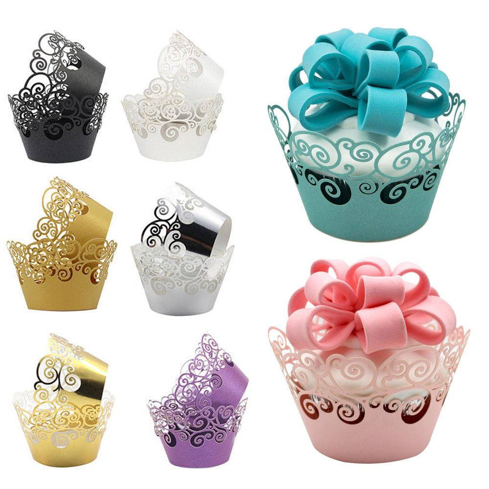 12Pcs/Lot Little Vine Lace Laser Cut Cupcake Wrapper Liner Baking Cup Hollow Paper Cake Cup DIY Baking Fondant Cupcake Dropship