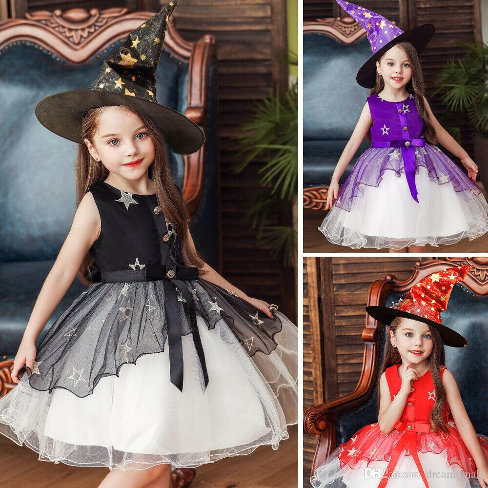 Halloween Kids Girls Costume Cospoly Fancy Witch Dress+Hat Outfits Set Clothing