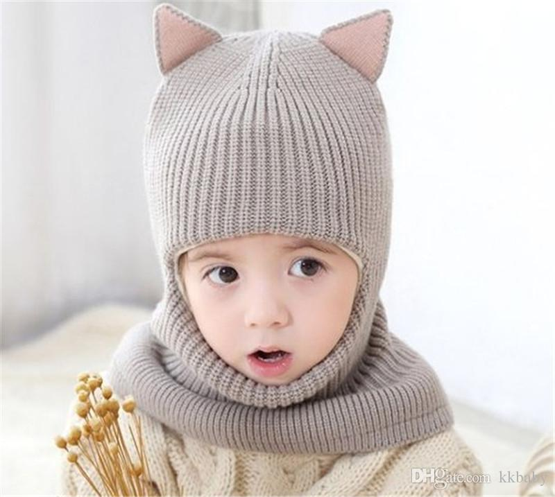 Unisex Children Fox Crochet Knitted Caps And Scarf Winter Warm Earflap Suit Set Baby Toddler Warm Kids Cute Pattern Beanies Hat Set