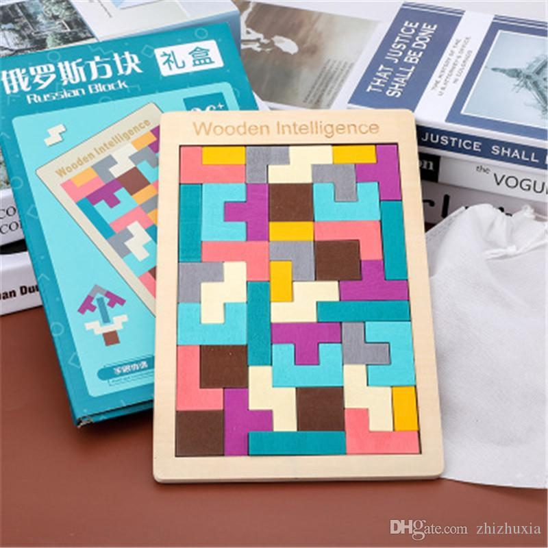 Children's Tetris Puzzle Educational Toy Lepin Blocks Wood Hot Sale Toy Colorful Environmental High Quality Baby's Toy
