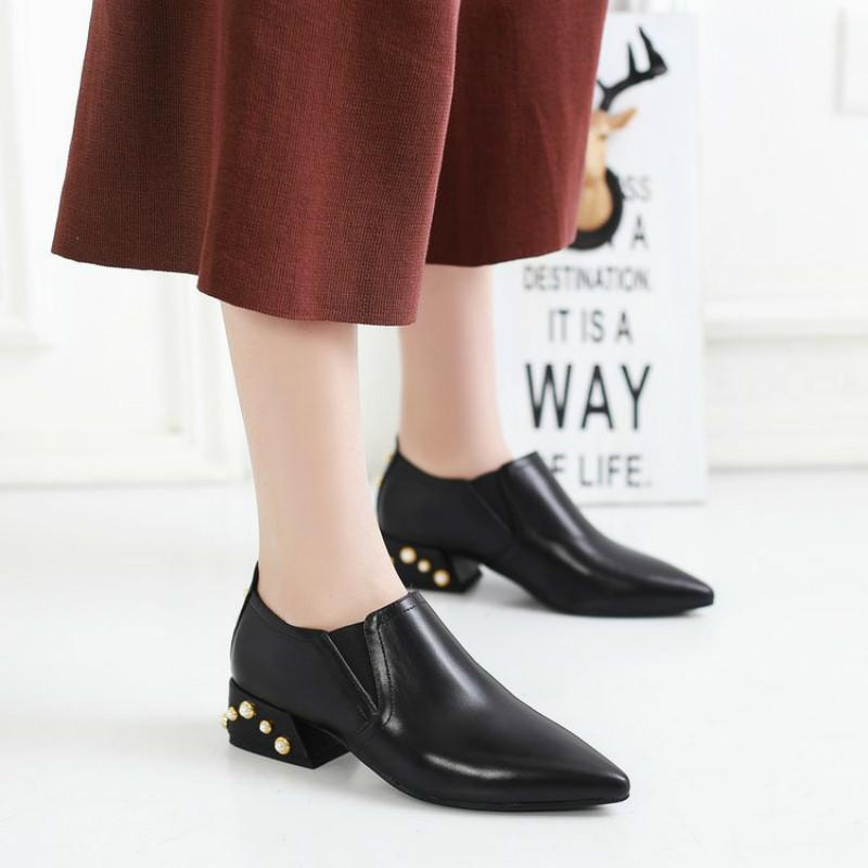 c54f2adea21 Dress Women Pointed Toe Dress Shoes Female Pearl Low Heel Footwear Lady Fashion  Leather Pumps Bass Shoes Skechers Shoes From Deals77