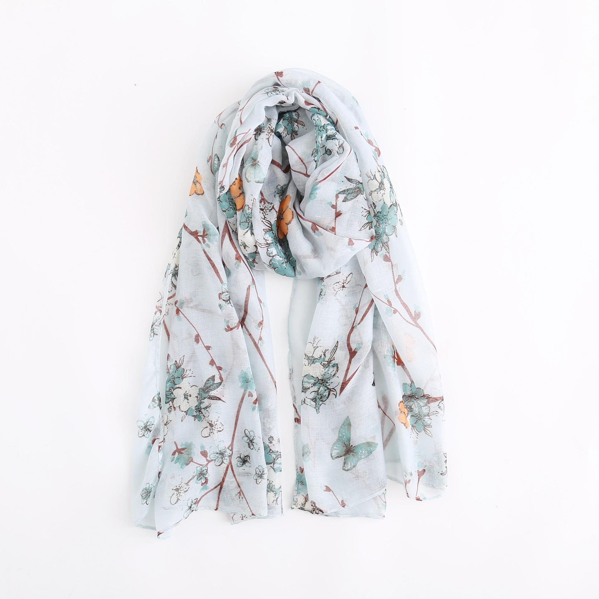 Fashion Chinese Style Plum Butterfly Design Sketch Element Comfortable and Breathable Bali Yarn Flower Print Scarf
