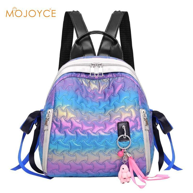 e8678743f Patent Leather Backpack Women Travel Bags Casual Gradient Ribbon Shoulder  School Bags Gradient Pattern Headphone Jack Bags Rucksack From Kateperry,  ...