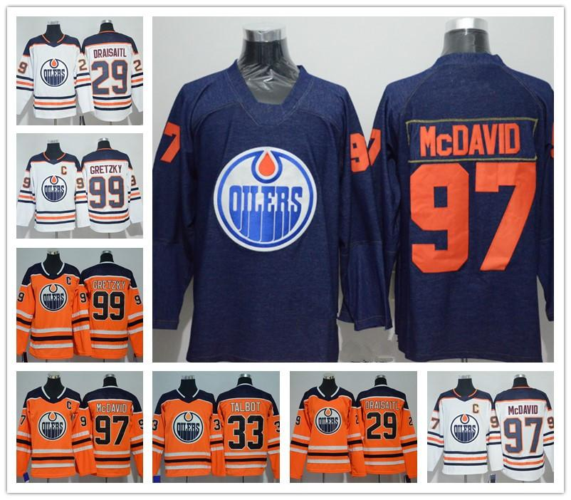 wholesale dealer c7f44 5d062 Edmonton Oilers Jersey #97 Connor Mcdavid #99 Wayne Gretzky#93  NUGENT-HOPKINS #14 EBERLE American Premier Hockey Jerseys Stitched Authentic