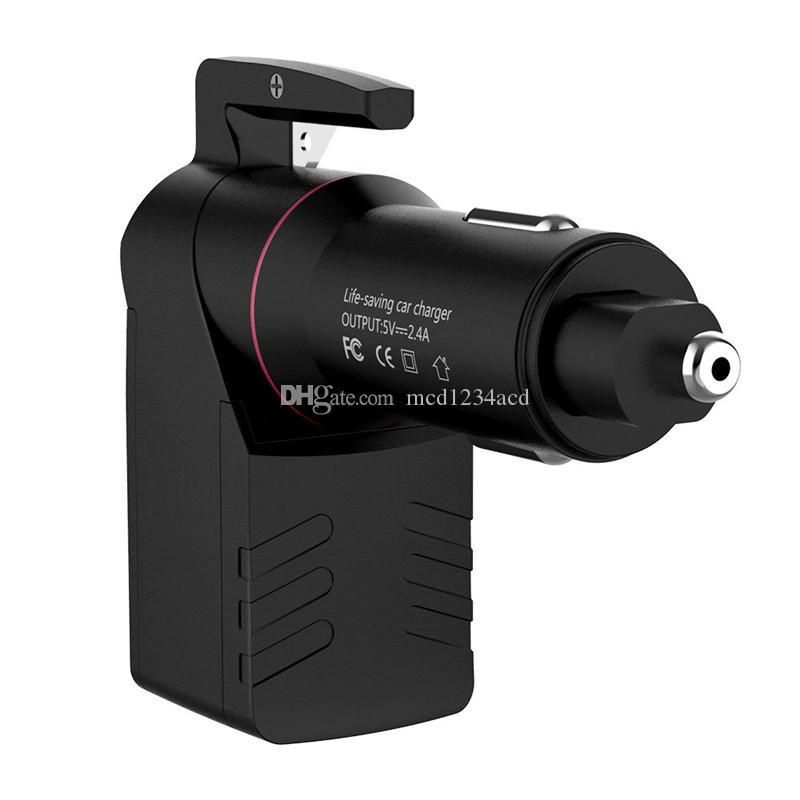 3 in 1 Notausstiegsprogramm Werkzeug Zigarettenanzünder im Auto Auto-Ladegerät mit Fenster-Unterbrechern Gurtschneider USB-Ladegerät 2.4A für Samsung-Tablet-PC