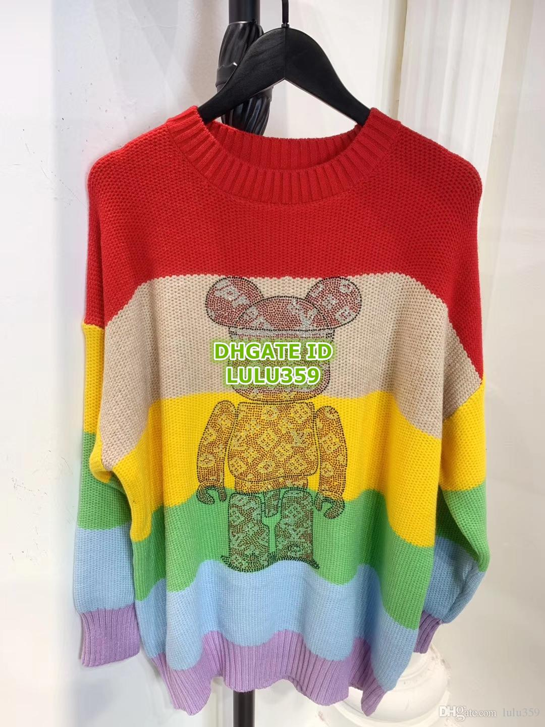 10196c37a5 Hot Sale Women Rainbow Letter Embroidery Bear Printed Knit Blend ...