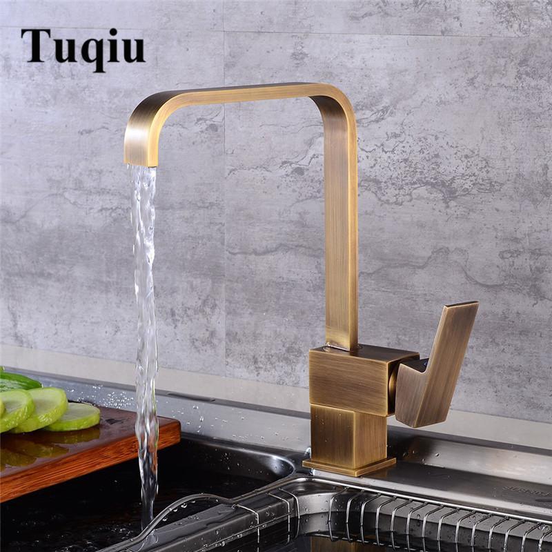2019 Kitchen Faucet Swivel Antique Bronze Sink Faucet Brass Material