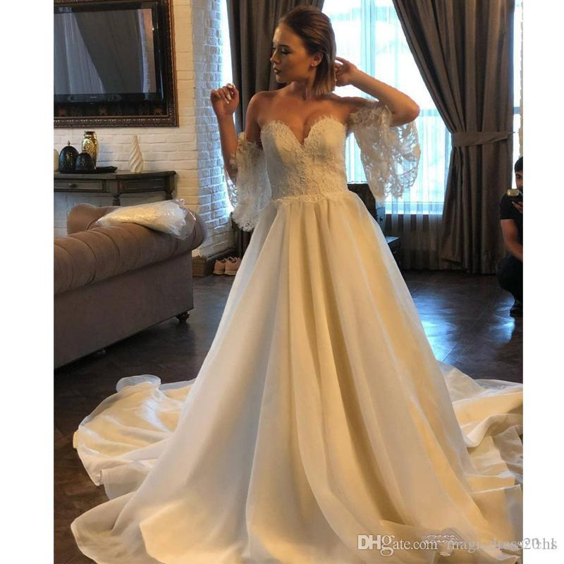 Simple Wedding Dresses For Fall: Discount Simple A Line Wedding Dresses Sweetheart Lace