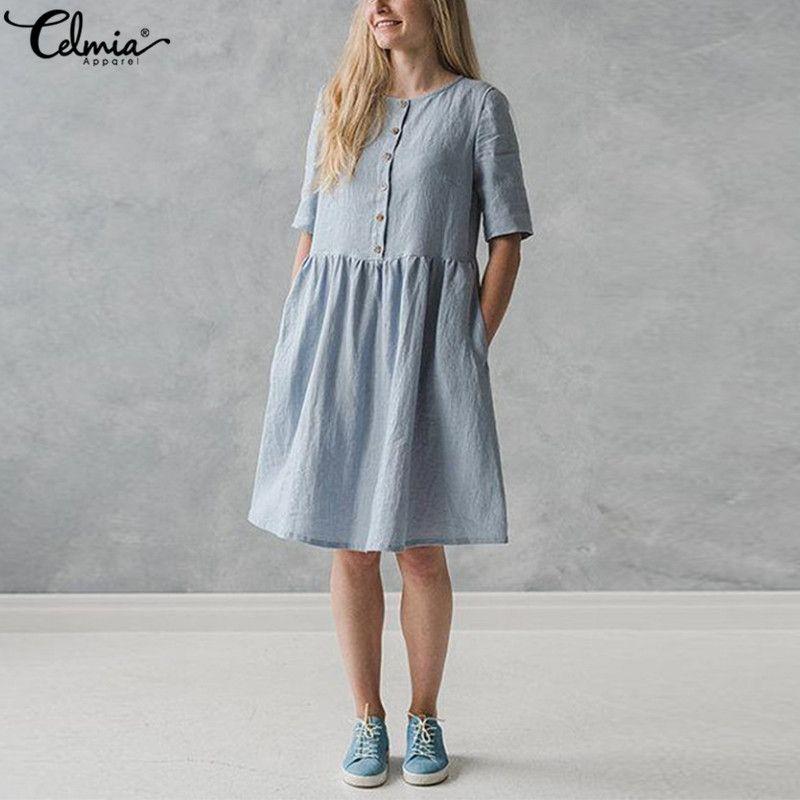 82581bcf355cb 2019 Celmia Vintage Linen Shirt Dress Women Short Sleeve Button Down Solid  Casual Party Dresses Summer Sarafans Vestidos Robe Y19041801