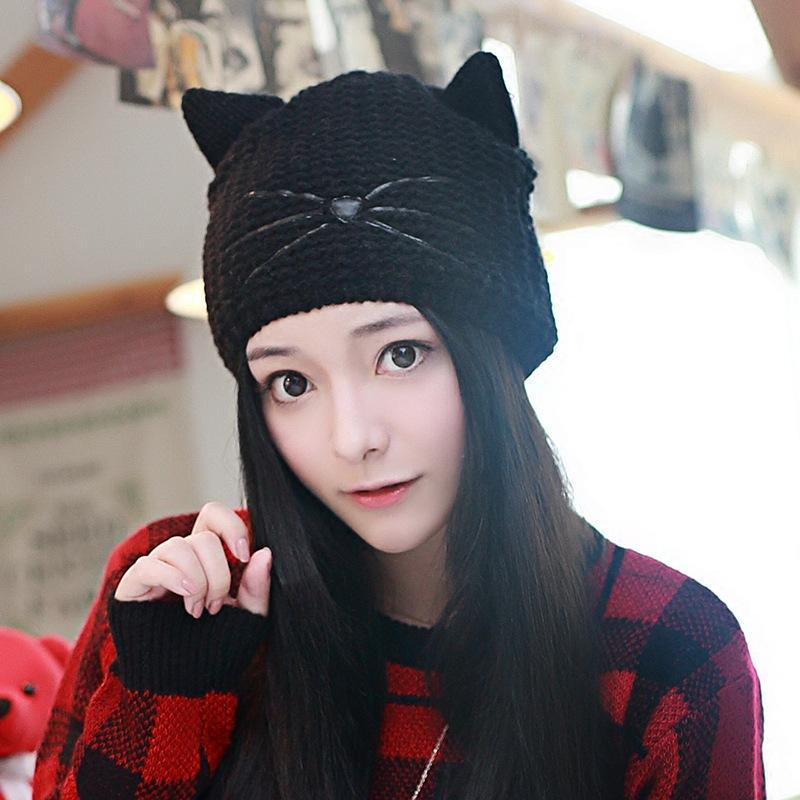 9e8c92432ee2e Wool Warm Knit Hat Cat Ears Lovely Winter Hat Fitted Caps Knit Hats From  Fotiaoqia