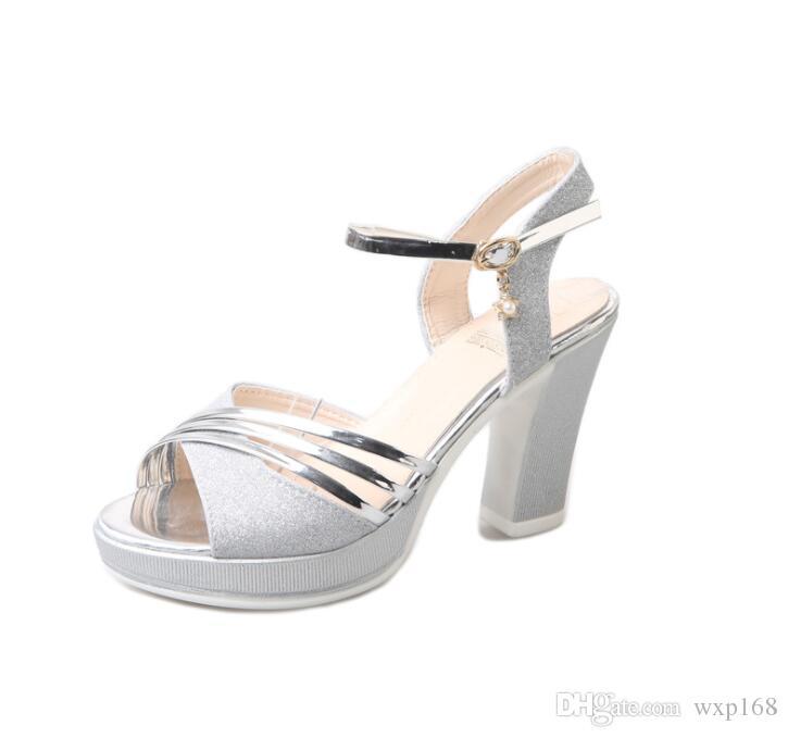 De Chaussures Extrême Hauteur Rugueux Talon Forme 2019 Haut Sandales Talons Mode Femmes Plate Été Cm 10 À Argent Or dxWCeroB