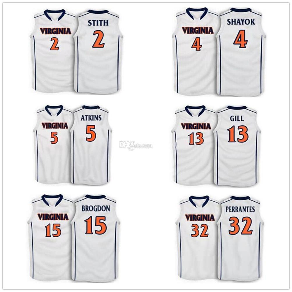 new product 6c1f1 7a6e1 JR Smith 2 Marial Shayok 4 Anthony Gill 13 Malcolm Brogdon 15 London  Perrantes 32 Virginia Cavaliers College Basketball Jerseys Custom Name